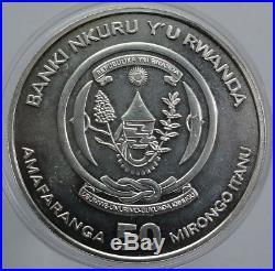 2009 RUANDA RWANDA ELEPHANT 50 FRANCS 1 Oz. 999 Silver F12 BU RARE