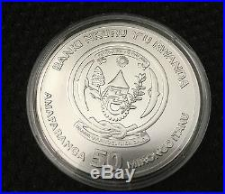 2009 RWANDA. 999 Silver Coin privy Fabulous 12 Elephant Wild Life