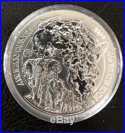 2009 Rwanda African Elephant. 999 Fine Silver 1 oz coin Fabulous 12 Privy
