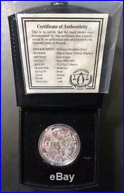 2009 Rwanda Elephant PROOF 50 Franc 1 Oz. 999 Silver Coin +Box & COA Very Rare