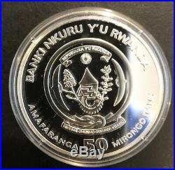 2009 Rwanda Elephant PROOF 50 Franc 1 Oz. 999 Silver Coin +Box Very Rare