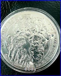 2009 Rwanda elephant African ounce silver coin oz BU Ruanda