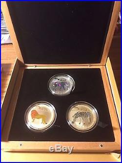 2010 Togo PRISM 3 coins Lion Zebra Elephant Silver Plated PROOF 100 Francs CFA