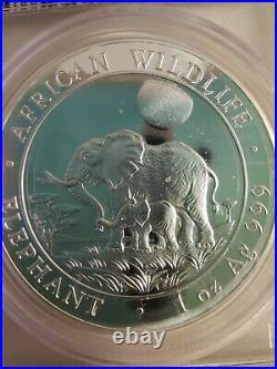 2011 PCGS PR69DCAM Somalia Elephant 1 oz. Silver coin
