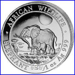 2011 Somalia Elephant 100 Shillings Solid Fine. 999 Silver 1oz Coin