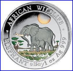 2011 Somalia Elephant Colour 100 Shillings Solid. 999 Silver 1oz Coin