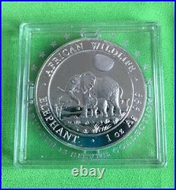 2011 Somalian Elephant 1oz 100 Shillings Silver Coin Coa Box And Pouch