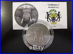 2012 Elephant Gabon 3 Oz Africa 3 Silver Ounces Series Antique Finish