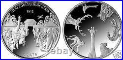 2012 Latvia silver coin 1 lats Animal Zoo elephant, bear, lion PROOF