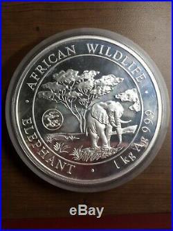 2012 Somalia Elephant 1 Kilo African Wildlife. 999 Silver Coin Minor Milk Spots