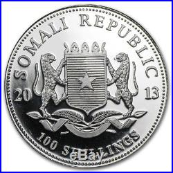 2013-19 Somalia Elephant Complete Colorized Coin Series. 999 Pure Silver