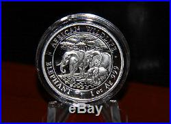 2013 1 oz High Relief Silver Somalian African Elephant (. 999 Pure) With Box & COA