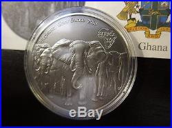 2013 Elephants Ghana 1 Oz Africa Silver Ounce Series Antique Finish