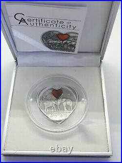 2013 Palau $5 1oz Silver Coin Heart-shaped - Elephants Everything for You