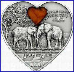 2013 Palau $5 Lucky Elephants Everything For You Silver Coin With Amber