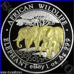 2013 SOMALIA ELEPHANT GILDED IN 24K GOLD 1 Oz. 999 Silver African Wildlife Coin