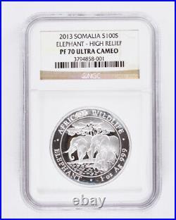 2013 Somalia 1oz Silver Proof Elephant High Relief NGC PF70 Ultra Cameo. 999