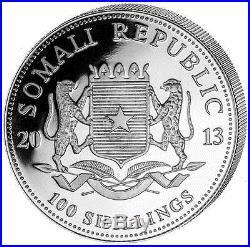 2013 Somalia Elephant 100 Shillings Solid Fine. 999 Silver Gold 1oz Coin