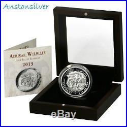 2013 Somalia Elephant 1oz High Relief Proof Coin in original box & COA