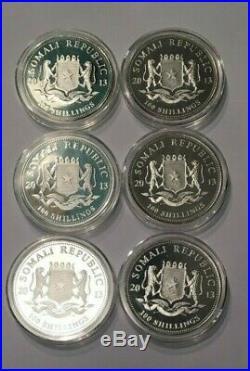 2013 Somalia Silver Elephant 1 oz. 999 bullion silver in Capsule (x6 Total)