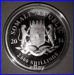 2014 1 Kilo (32.15 oz) Pure Silver Somalia African Wildlife Elephant (BU)