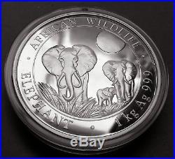2014 1 Kilo Somalia Pure Silver AFRICAN WILDLIFE ELEPHANT (BU)