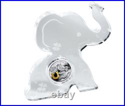 2014 Mint of Poland Sterling Silver Gold Plated Coin Triple Happiness Elephant