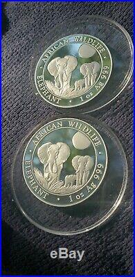 2014 Somalia African Elephant Silver Coin 1 oz. 999 Fine Silver BU lot of 4 HTF
