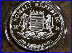 2014 Somalia Elephant Colorized. 999 1oz Silver Coin