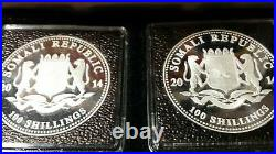 2014 Somalia Elephants Day and Night (2) 1oz Silver Coins 1st Year Only 500