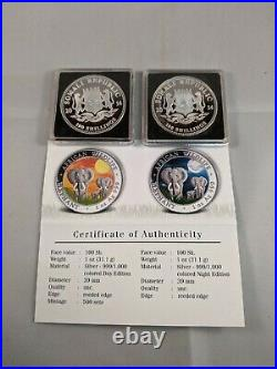 2014 Somalian ELEPHANT DAY & NIGHT Colorized Silver 2 Coin Set AFRICAN WILDLIFE