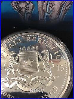 2015 1 Kilo. 999 Fine Silver Elephant Giant Moon Edition Somalia Enameled Coin