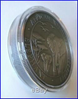 2015 1 Kilo Silver Somalia Elephant Coin BU, Antique Finish, 200 Minted, Box COA