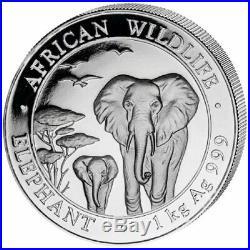 2015 1 Kilo Somalia. 999 Silver Elephant Coin (BU) - Perfect Condition