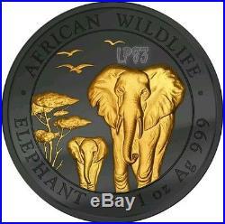2015 1 Oz Silver GOLDEN ENIGMA Elephant Ruthenium Coin 100 Shillings Somalia