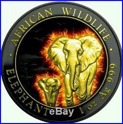 2015 1 oz African Somali Silver Burning Elephant Coin Black Ruthenium 24k Hot