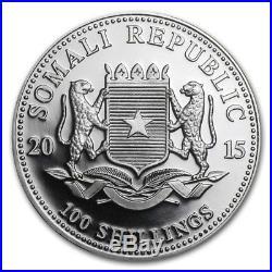 2015 1 oz Somalia Elephant Colorized Coins. 999 Silver (BU)