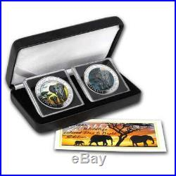 2015 1 oz Somalia Elephant Colorized Silver 2 Coin Set with Box & COA
