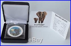 2015 1oz. 999 Somalia African Elephant Colorized Box & Coa (Mint Condition)