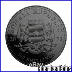 2015 1oz Silver Somalia African Burning Elephant Ruthenium Gilded Coin