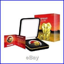 2015 1oz Silver Somalia African Elephant Sunset 24k Gold Gilded