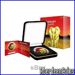 2015 1oz Silver Somalia African Elephant Sunset 24k Gold Gilded Coin