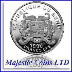 2015 Benin 2 oz Elephant Protection De La Nature Box/CoA. 999 Silver Proof Coin
