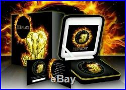 2015 Burning Somalia Elephant Silver Coin 1 Oz 999 Silver with Ruthenium + Gold