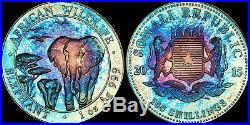 2015 SOMALI REPUBLIC 1oz AFRICAN ELEPHANT 100 SHILLINGS BLUE/PURPLE TONED