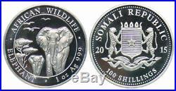 2015 Somalia 100 Shillings 1 oz. 999 Silver Elephant 20 Count Original Roll