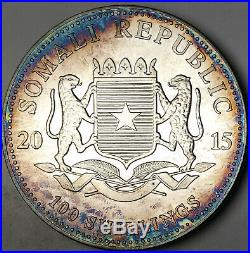 2015 Somalia 100 Shillings African Wildlife Elephant. 999 Silver Blue Toned (dr)