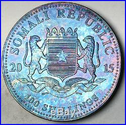 2015 Somalia 100 Shillings African Wildlife Elephant. 999 Silver Toned Blue (dr)