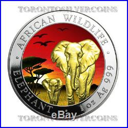 2015 Somalia African Elephant Sunset 1 oz Silver Coin Colored LTD Mintage 500