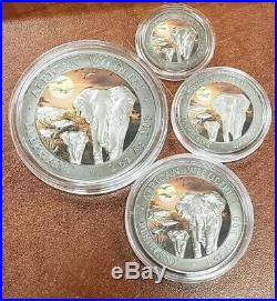 2015 Somalia African Wildlife. 999 Silver Elephant Coins 4 Pc #22/100 Coa #l659